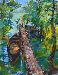 Лодки у причала, картина современного художника