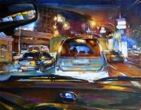 В такси- ночной пейзаж Киева, живопись