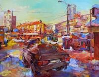 Картина маслом киевской улицы «Лукьяновка» - купить, заказать
