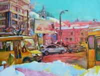 Картины маслом: современный пейзаж Киева «Зима на Подоле»