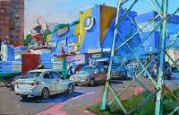 Картина маслом Киев - Современный пейзаж «Виноградарь»