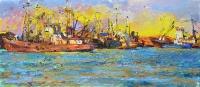 Корабли,картина маслом