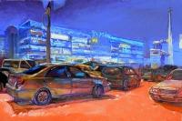 Картина маслом - Киев, киевский пейзаж «Площадь Победы»