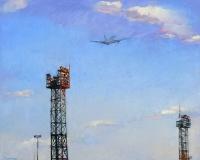 Картины маслом: картина современного художника с изображением самолета «Небо»