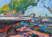 Яхты на стоянке,картина