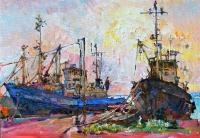 Корабли,закат,купить картину маслом