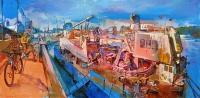 Городской пейзаж «Дорога на Рыбальский остров» - картина маслом