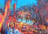 Киев,ночной пейзаж маслом