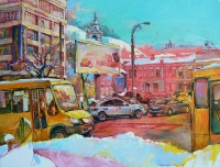 0il painting,winter cityscape