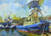 building of tugboat, oil cityscape