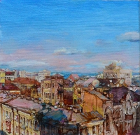 Kiev spring, painting view of old city