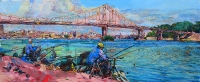 View of Kiev.Fishermans on the Dniper