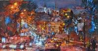 Winter lights of city