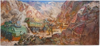 Afganistan,battle in the canion,painting
