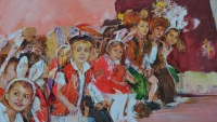 Children wait Santa Claus,impression painting