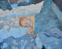 """Sleep""  oil painting with child"