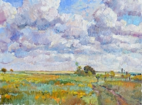 bloming steppe,landscape sky oil painting