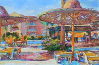 Cafe near the swimming pool, oil painting