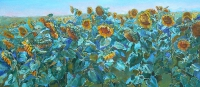 Field of sunflowers - landscape painting
