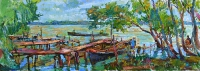 fishing village oil painting
