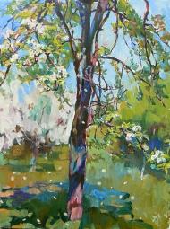 "Landscape ""Blooming""painting ukrainian artist"