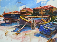 "Modern sea painting ""Old boats"""