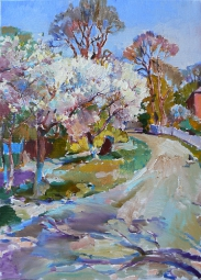 "Oil landscape painting ""Blooming cherry trees"""