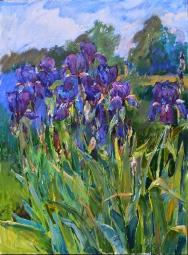 oil painting by ukrainian artist-irises