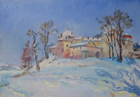 Old castle-buy winter oil painting