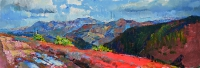 panorama of mountains peaks,oil painting Kiev
