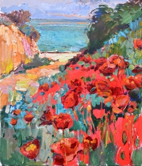 poppies by the sea, flowers painting