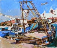 """Seaport"" oil painting"