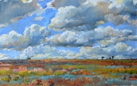 steppe landscape,imression painting