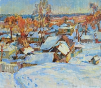 winter evening artwork oil painting