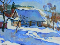 Winter village- buy oil painting