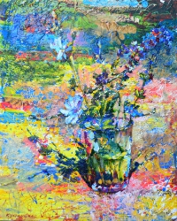 multi-colored still life with wildflowers