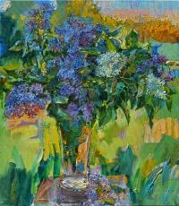still life lilac,paninting by ukrainian artist