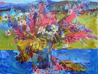 wildflowers - landscape ukrainian painting