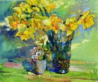 Yellow daffodils oil still life